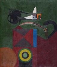 MÁQUINA DE COSTURA, 1946, Óleo sobre tela de serapilheira. 74 x 64 cm